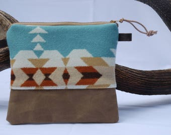 Pendleton wool & waxed canvas zippered cosmetic bag