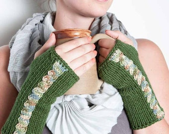 Knit Fingerless Mittens Green Gloves Cable Gloves Cozy Fingerless Mittens Warm Winter Gloves Green Fashion Accessories Winter Accessories
