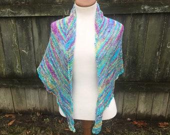 Vibrant Hand Knit Shawl