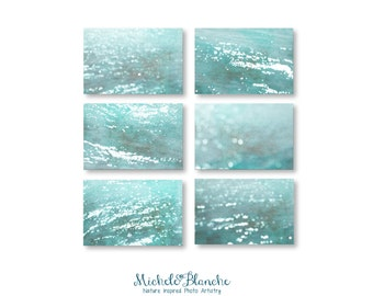 Water Abstract Photo Set, Six Prints of Ocean Calm, Tranquil Sea in turquoise and teal. Lake, beach house cabin vacation home decor.