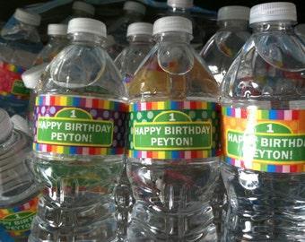 Happy Birthday Sesame Street Rainbow Water Bottle Labels - Customized Digital File