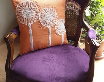 Hand Made Cushion Cover with Crochet Detail