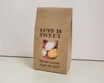 LOVE IS SWEET-Wedding Favors for Guests-Wedding Ideas-Wedding Favor Bags-Kraft Favor Bags-Personalized Favors-Rustic Wedding Decor-Weddings