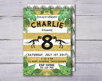 Dinosaur Invitation, Boy's Birthday Invitation, Dinosaur Party Invitation, Dinosaur Birthday Invitation, Dinosaur Invite Fossil Party Invite
