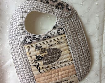 Quilted Baby bib - Mary, Mary Quite Contrary