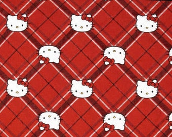 Hello Kitty Diamond Plaid Red Tartan Plaid Cotton Fabric