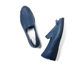 Blue platform shoes woven leather handmade