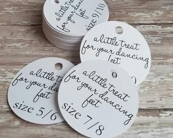 A little treat for your dancing feet tag, flip flop tag, shoe tag, wedding favor, wedding tag, custom tag, flip flop size tag (119)