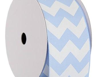 "Grosgrain Chevron Ribbon 1 1/2"" - 5 Yards - Baby Blue"