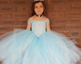 Light Blue  Gown Tutu Dress - Cinderella Inspired  Dress- Stunning Blue Glittery Gown dress inspired by FunkidsandUs Boutique