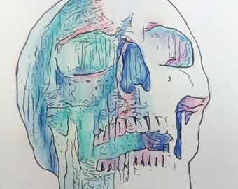 Aquarelle originale «Skull»