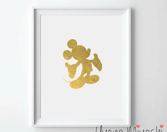 Mickey Mouse III Disney Gold Foil Print, Gold Print, Disney Mickey Mouse Print in Gold, Mickey Mouse Gold Art Print, Gold Foil Art Print