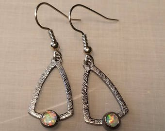 Sterling silver and lab opal earrings