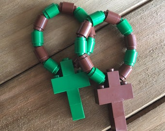Pair of One Decade Rosaries made from Lego bricks - Brown & Green Catholic Rosary/Chaplet