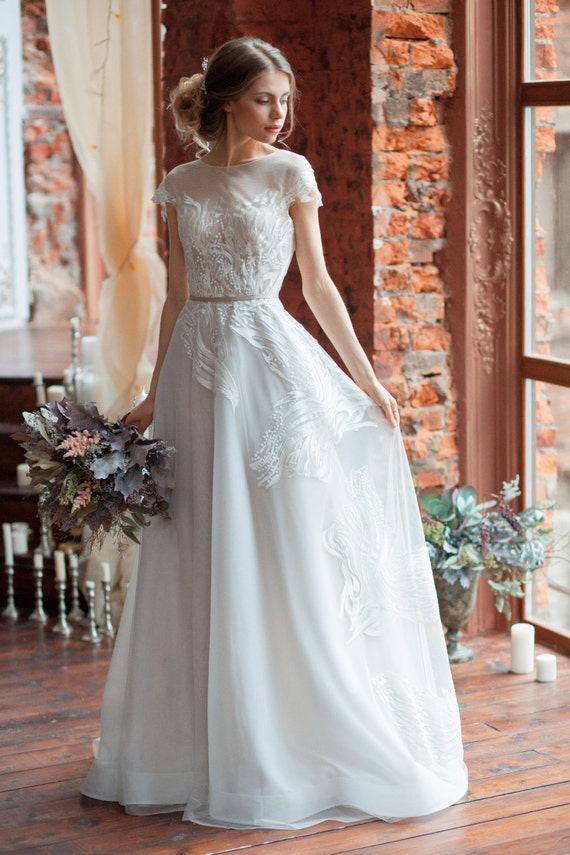 Wedding Dress LORA Aline Wedding Dress Boned Open Back - Covered Back Wedding Dress