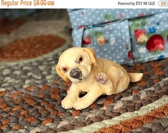 SALE Miniature Puppy Figurine, Miniature Sitting Golden Pup With Paw Up, Dollhouse Miniature, 1:12 Scale, Dollhouse Pet, Shelf Sitter, Toppe