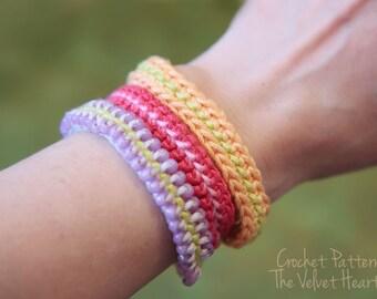 Easy Crochet Pattern, Jewelry Tutorial, Crochet Bracelet Pattern, Crochet With Beads Tutorial, Step By Step Instructions, Tie On Bracelet,