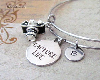 Capture Life Camera Charm Personalized Hand Stamped Initial Birthstone Photographer Charm Stainless Steel Expandable Bangle Bracelet