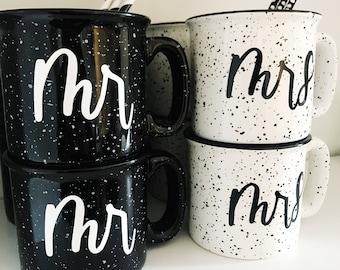 Mr and Mrs - 15 oz Hand Lettered Campfire Stoneware Mug | Coffee Mug | Camping | Custom Mug | Drinkware | Wedding Gift | Married