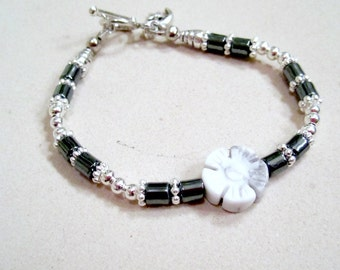 Children's Flower Bracelet Gray Jasper Jewelry Grey Hematite Jewellery Gemstone Beaded Moon Silver Star Charm Girls