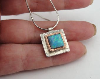 925 Square Blue Opal Pensant, 925 Sterling Silver and 9K Gold opal pendant, Gift, Opal Necklace, Blue stone Pendant, Birthday, Everyday (sp