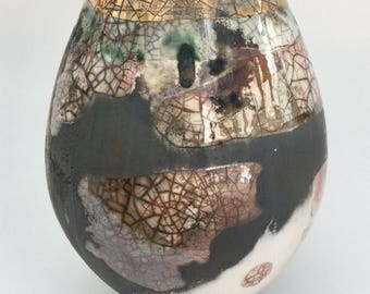 Smoke-fired ceramic pot. Fine art porcelain vessel.