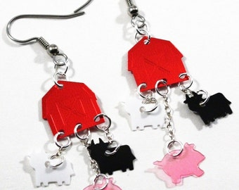 Red Barns Farm Earrings Black & White Cows Pink Pigs Dangle Plastic Sequin Jewelry