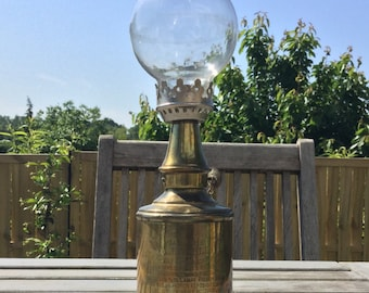 Lampe Pigeon French Antique Copper Lamp With Glass