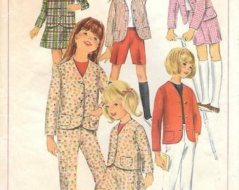 Girls 6-Simplicity 6901 1960s Girls Collarless Jacket Skirt Pants and Shorts Vintage Sewing Pattern