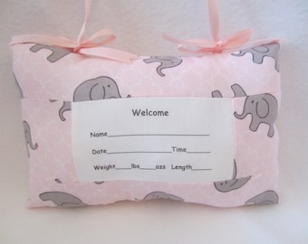 Birth Announcement Pillow, Elephant Pillow, Nursery Decor, Baby Shower Gift, Door Knob Pillow, New Mom Gift, Personalized Gift