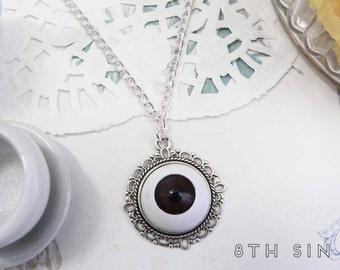 Antique Silver & Brown Eyeball Necklace, Brown Eye Necklace, Evil Eye Necklace, Doll Eye Necklace, Silver Eye Necklace, White Eye Necklace
