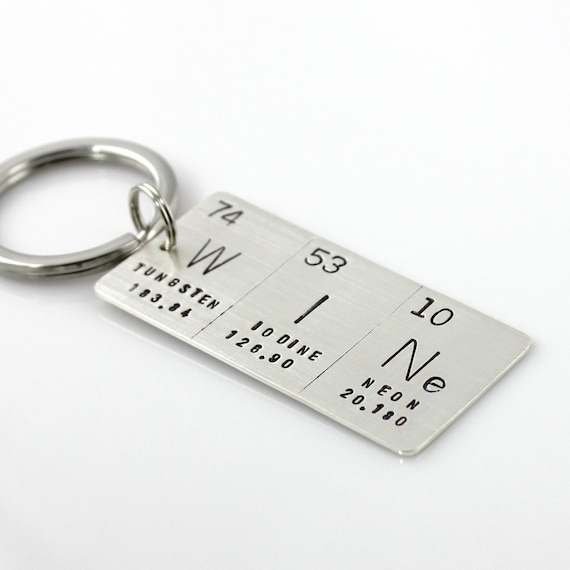 Hand stamped periodic table element sterling silver keychain like this item urtaz Gallery
