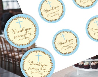 First communion favor tags, Baptism favor tags, Baby Blessing favor tags, Confirmation, Communion thank you, Baptism printable stickers