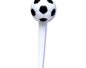 24 Soccer 3D Cupcake Picks Cake Toppers Decorations