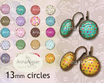 Shabby Chic Polka dots - Circles 13 mm - Digital Collage Sheet for 12 mm Earrings - Bottlecaps - Pendants - Magnets