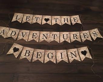 Let the Adventures Begin Banner, Let the Adventures Begin Sign, New Beginnings Banner, Retirement Banner, Moving Banner
