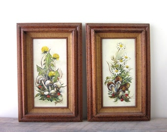Vintage Mushroom Signed and Framed Oil Paintings Set of Two