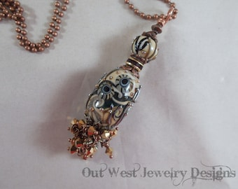 Lampwork Bead Necklace - Handtorched Pendant with Austrian and Swarovski Crystal SRAJD
