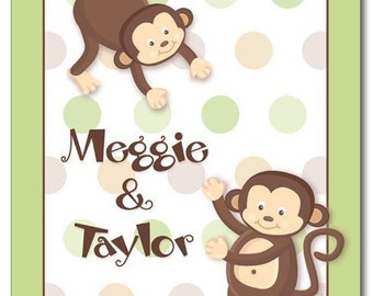 11x14 Personalized Art Print for Kids Pop Monkeys