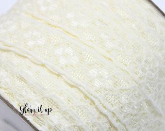 "Lace FOE - Fold Over Elastic - 5/8"" elastic - Printed Elastic - Elastic Trim- Elastic Ribbon-FOE-headbands-Ivory Lace Foe"