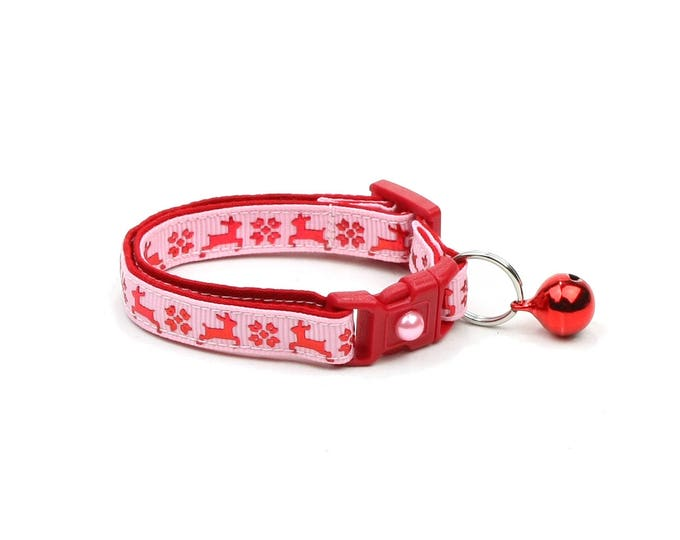 Christmas Cat Collar - Fair Isle Reindeer on Pink - Small Cat / Kitten Size or Large(standard) Size Collar