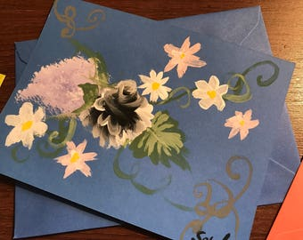 Vintage Rose Hand Painted Note Card