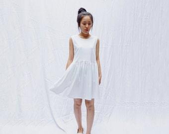 Sleeveless cotton jersey knit smock dress, babydoll dress, sun dress, Loose style, Little white dress, Little black dress
