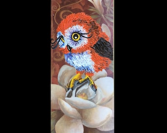 Owl and flower recycled art