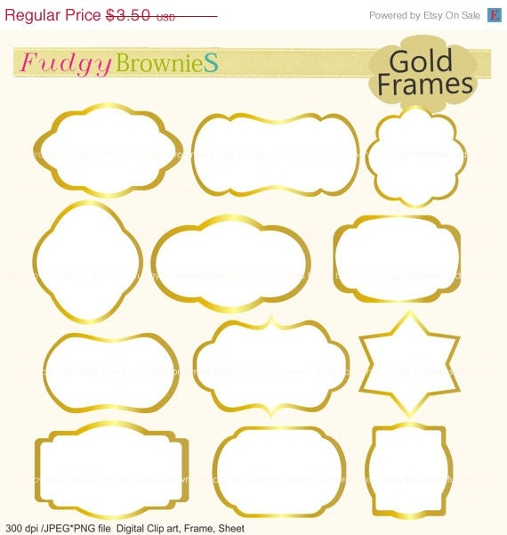 ON SALE Gold Frames Clipartwhite Background Frameframe