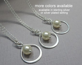 Sterling Silver Infinity Necklace, Bridesmaid Pearl Necklace, Bridesmaid Gift, Gift for Her, Maid of Honor Gift, Mother of the Bride Gift