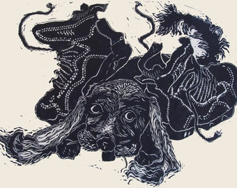 Puppy,  limited edtion, linocut signed in pencil by the artist