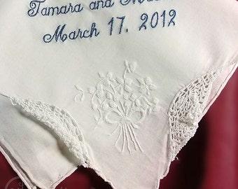 Mother of the Bride Wedding Handkerchief   Gift for Mom   Mother of the Bride Gift   Custom Made Wedding Handkerchief