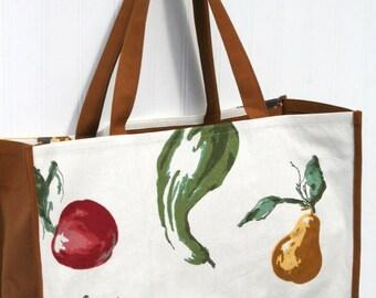 Autumn Vegetables Farmers Market Bag - Marketing Tote - Pear - Apple