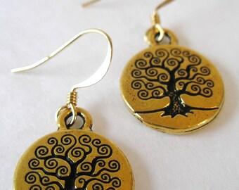 CELTIC Gold Tree of LIfe IRISH Dangle Earrings-Ireland Jewelry